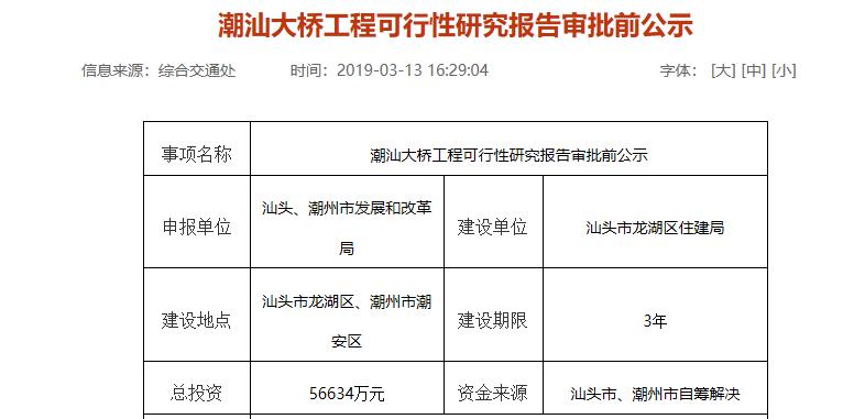 潮汕大桥工程可行性研究报告公示:跨越梅溪河 双向六车道